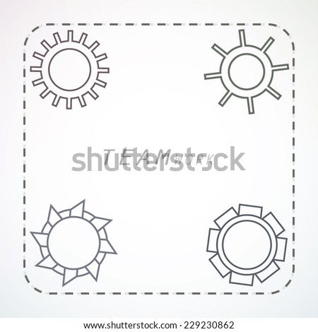 Concept teamwork industrial art with rotating gears illustration - stock vector