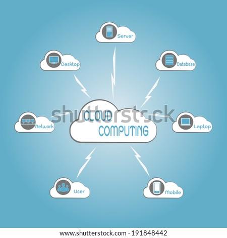 Concept technology,Communication through cloud computing technology, eps10 vector illustration - stock vector