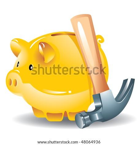 concept: the golden piggy bank and hammer, the vector - stock vector