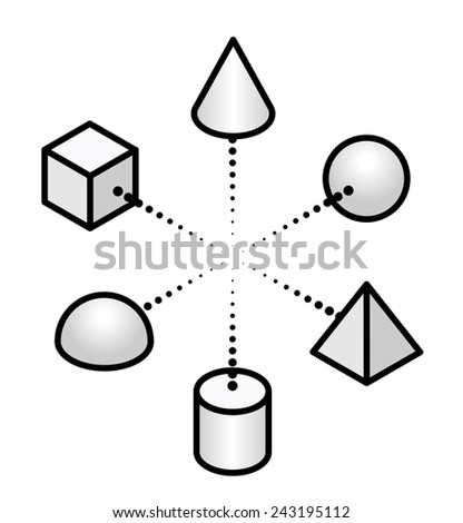 Concept: the internet of things. Diagram showing interconnected / networked objects. - stock vector