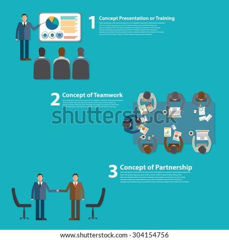 Concept, training, meeting, teamwork, partnership - stock vector