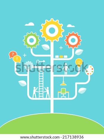 Concept Tree Illustration. Education, Development, Growth.  - stock vector