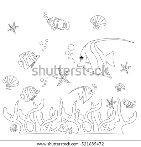 Concept under the sea on a white background.