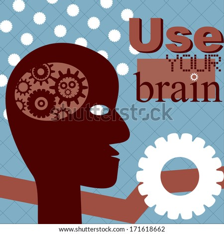 Concept Use your brain. Abstract head with cogwheel in it. - stock vector