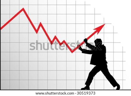 Concept vector anti-crisis image. Man pushing the graph up. - stock vector
