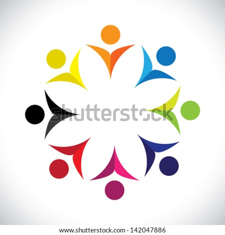 Concept vector graphic- abstract colorful happy children icons ( signs ). The illustration represents concepts like worker unions, employee diversity, community friendship & sharing, kids playing, etc - stock vector
