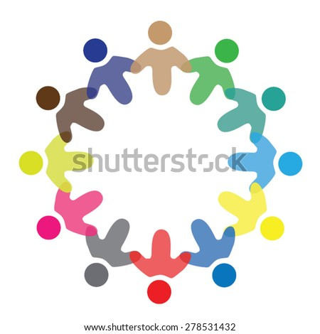 Concept vector graphic- colorful school children icons ( signs ) as ring. The illustration represents concepts like workers, employee diversity, community friendship & sharing, children playing - stock vector