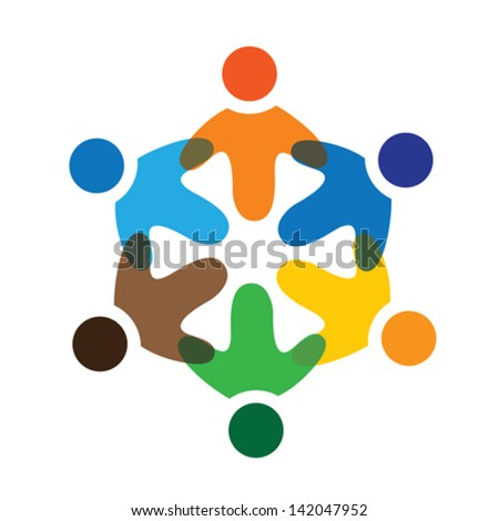 Concept vector graphic- colorful school kids playing icons. The logo template represents concepts like worker unions, employee diversity, community friendship & sharing, children playing, etc - stock vector