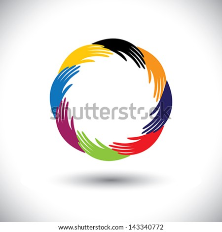 Concept vector graphic- human hand icons ( signs ) as circle or ring. The illustration  represents concepts like teamwork, cooperation,community sharing, friendship, partnership, unity & solidarity - stock vector