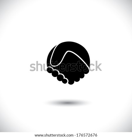 Concept vector graphic icon - abstract hand shake silhouette. This graphic illustration can also represent new partnership, friendship, unity and trust, greetings, forging ties, business meeting, etc  - stock vector