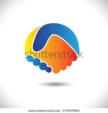 Concept vector graphic icon - business people or friends hand shake. This handshake illustration can also represent new partnership, friendship, unity and trust, greeting & gestures, etc - stock vector