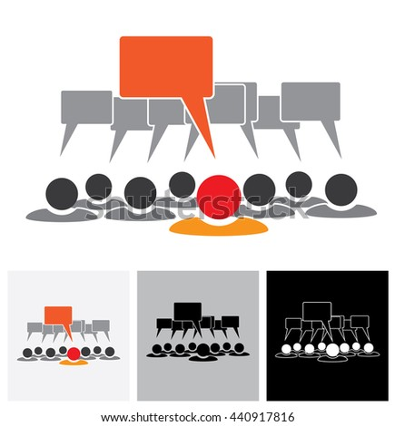 Concept vector graphic - leader & employees talking ( speech bubbles ). This also represents people meeting, teamwork, network, employee conversation & interaction, worker discussions - stock vector