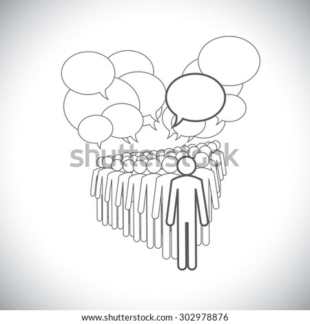 concept vector graphic - leader & workers talking ( speech bubbles ). This illustration represents people diversity, teamwork, employee conversation & interaction, worker discussions, etc - stock vector