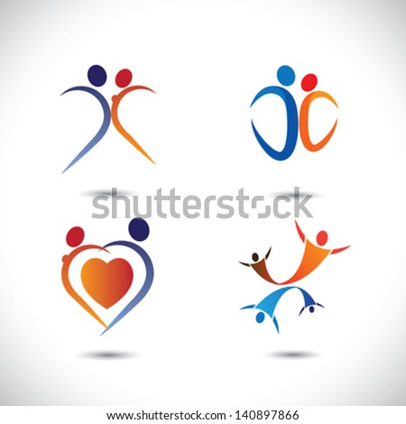 Concept vector graphic- love couple together jumping in joy. The illustration also represents lover pairs passionately dancing, girl and boy doing lustful moves, romantic couple having fun time, etc - stock vector