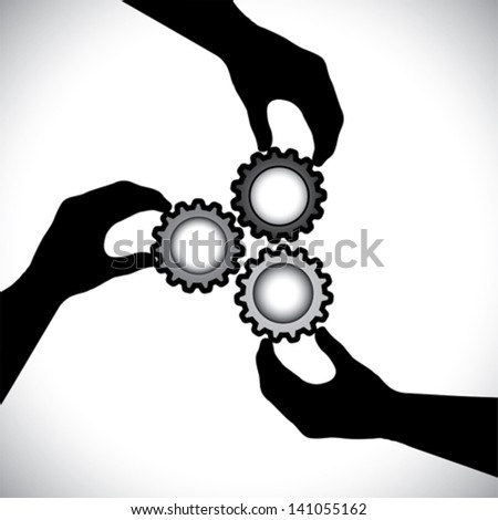 Concept vector graphic- of teamwork, community unity & integrity. The illustration shows 3 hand silhouettes holding 3 cog wheels & rotating them in sync & balance - stock vector