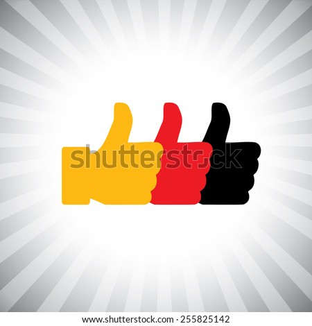 Concept vector graphic - social media hand icons ( signs ) set. This also represents agreement, deal, endorse, concur, vote, thumbs up, like, okay, ok, good, etc - stock vector