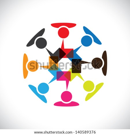 Concept vector graphic- social media interaction & communication. This illustration can also represent people chatting, teamwork, meeting, employee interactions & discussions, expressing opinions, etc - stock vector