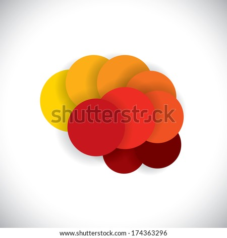 concept vector icon of abstract brain or mind as circles in yellow red and orange colors.  - stock vector