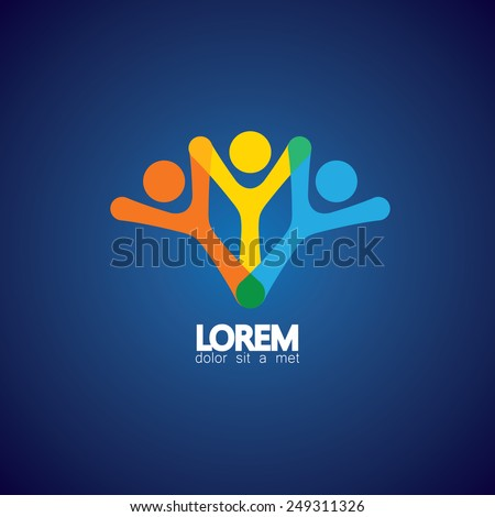 concept vector icon of happy friends together. This vector graphic also represents excited kids, motivated employees, inspired office people, happy children playing, friends partying celebration - stock vector