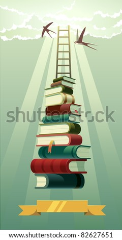 Concept vector illustration: knowledge and power of the books. - stock vector