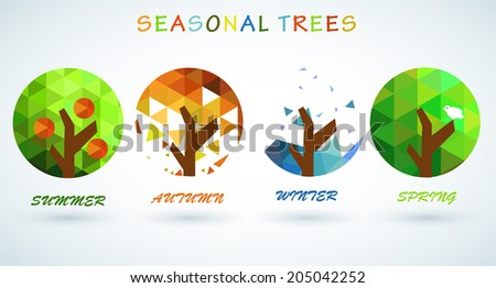 concept vector illustration seasonal trees  - stock vector