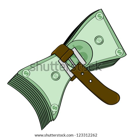 Concept vector illustration showing a belt tightened around some cash - stock vector