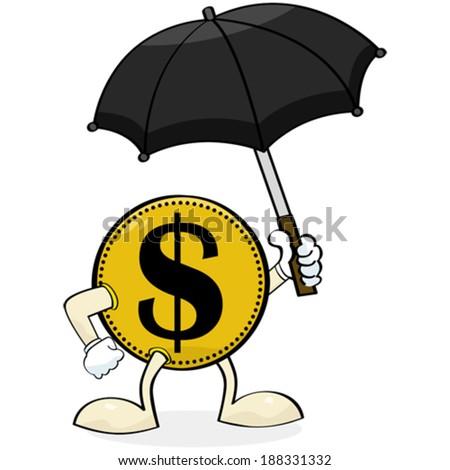Concept vector illustration showing a coin holding an umbrella - stock vector