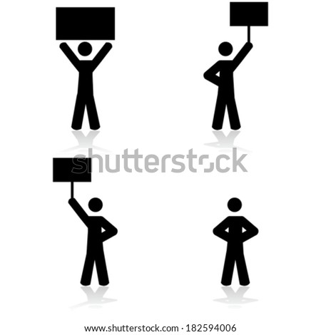 Concept vector illustration showing stick figures in protests - stock vector