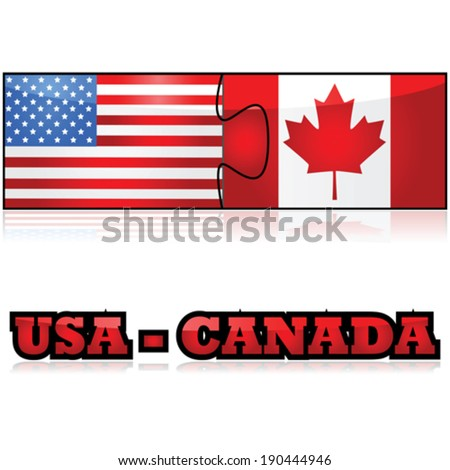 Concept vector illustration showing the flags of the United States and Canada joined together as puzzle pieces - stock vector