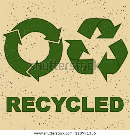 Concept vector illustration showing two recycling signs on a recycled paper texture - stock vector