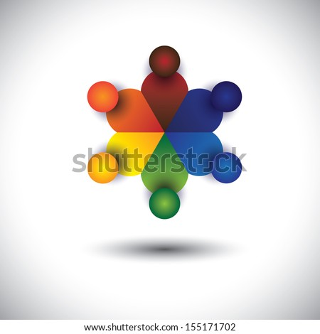 concept vector of children or kids playing in circle. The graphic also represents social media interaction & engagement, kids talking in school, workers discussions, employees meetings & interactions - stock vector