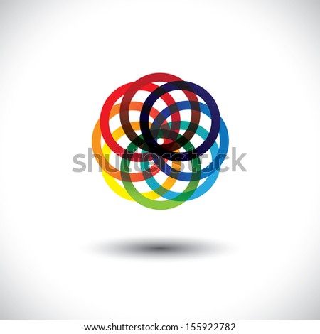 Concept vector of colorful circles in various bright vibrant colors. This abstract graphic contains rings or circles in red, orange, yellow, blue, pink and other vivid colors - stock vector