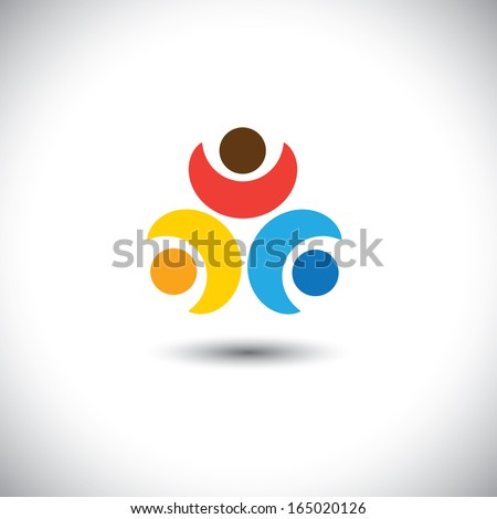 Concept vector of friendship - three friends together. This graphic can also represent kids playing, children in leisure, bonding & relationship, childhood & companionship - stock vector