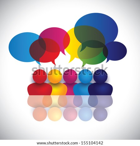 concept vector of school kids talking or office staff meeting. The graphic also represents global conference, social media interaction and engagement, children talking in school, employee discussions - stock vector