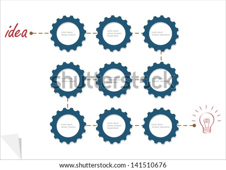 Concept vector template with gear wheels. Variation -3 - stock vector