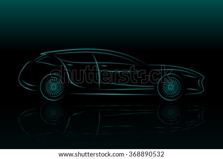 Concept Vehicle Silhouette. Vector Car Outlines Isolated On Black Background - stock vector