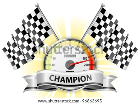 Concept - Winner, Champion. Detailed Car Speedometer with Flags and Ribbon, vector illustration - stock vector