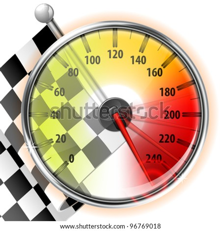 Concept - Winner, Champion. Detailed Car Speedometer with Maximum Speed and Flag, vector illustration - stock vector