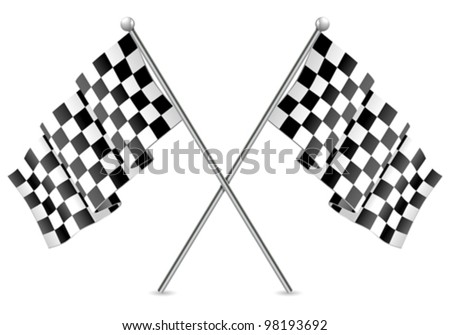 Concept - Winner. Two Racing Checkered Flags Finish, isolated on white background, vector - stock vector