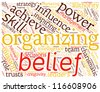 Concept with great terms Organizing, Power, Leadership. Word collage. Vector illustration. - stock photo
