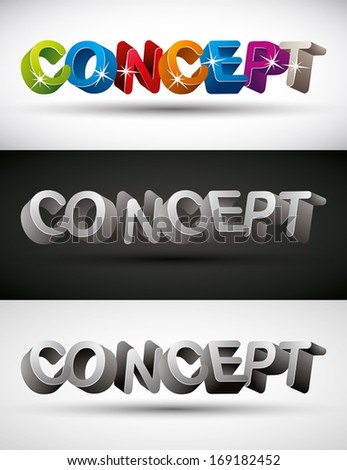 Concept word made with 3d letters, vector set. - stock vector