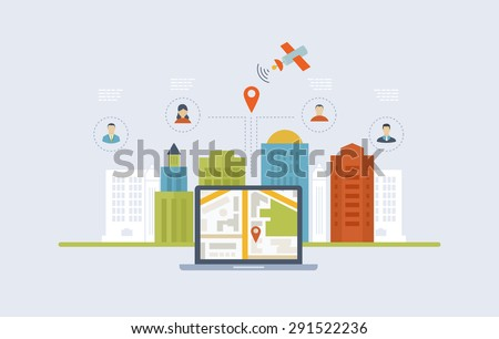 Concepts for finding the right place and people on the map for travel and tourism. Mobile gps navigation on laptop with map. Mobile technologies concept. Building icon. - stock vector
