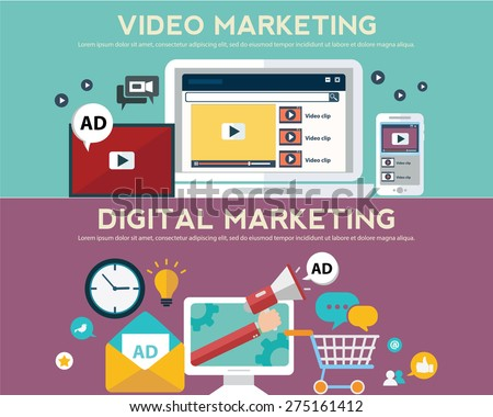 Concepts for video and digital marketing, advertising, social media, web and mobile apps and services, e-commerce, SEO. Concepts for website banners and printed materials.  - stock vector