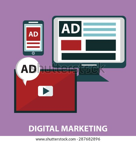 Concepts for video marketing, digital marketing, advertising, social media, web and mobile app and services, e-commerce, SEO. Concepts for website banners and printed materials.  - stock vector