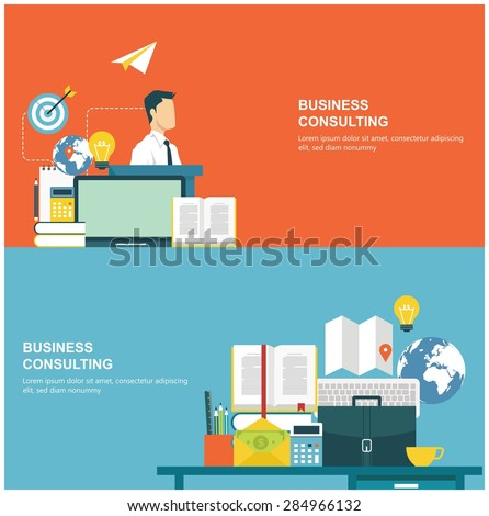 Concepts for web banners and promotions. Flat design concepts for business consulting - stock vector