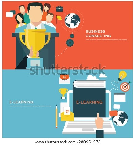 Concepts for web banners and promotions. Flat design concepts for business consulting and e-learning - stock vector