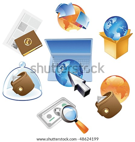 Concepts for worldwide business, media and technology. Vector illustration. - stock vector