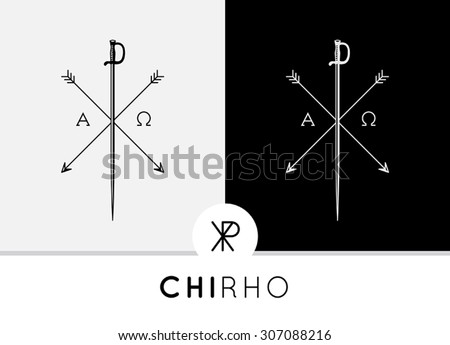 Conceptual Abstract Chi-Rho Symbol design with sword & arrows combined with Alpha & Omega signs. Chi-Rho symbolizes the crucifixion of Jesus and his status as the Christ in the Christian faith. - stock vector