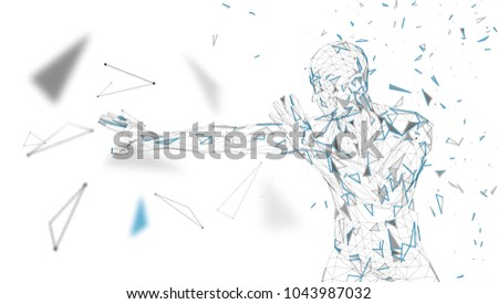 Conceptual abstract man is afraid of fear. Connected lines, dots, triangles, particles. Artificial intelligence concept. High technology vector, digital background. 3D render vector illustration.