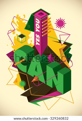Conceptual abstraction with typography. Vector illustration. - stock vector